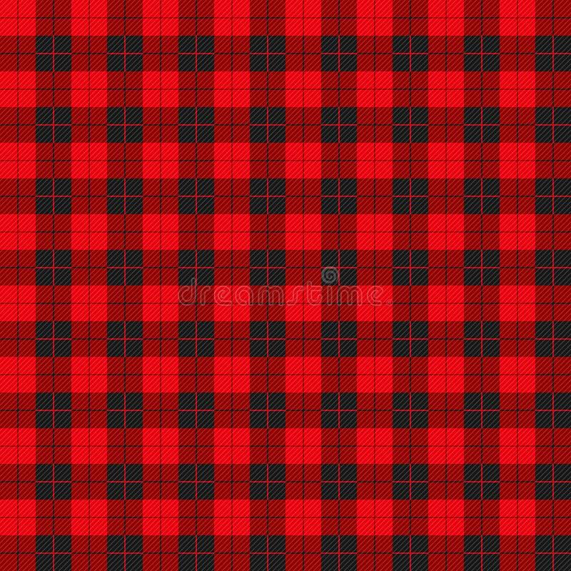 Teste padrão da manta do búfalo com quadrados vermelhos e pretos ilustração do vetor