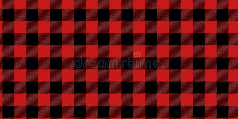 Teste padrão da manta do lenhador do vetor Fundo dos quadrados vermelhos e brancos da obscuridade alterna - teste padrão do país  ilustração stock