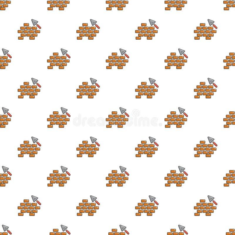 Teste padrão da pá de pedreiro e da parede de tijolo sem emenda ilustração do vetor