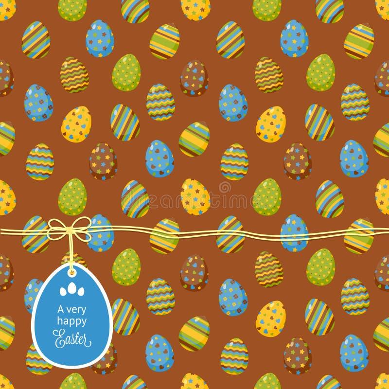 Teste padrão da Páscoa com etiqueta do ovo ilustração royalty free