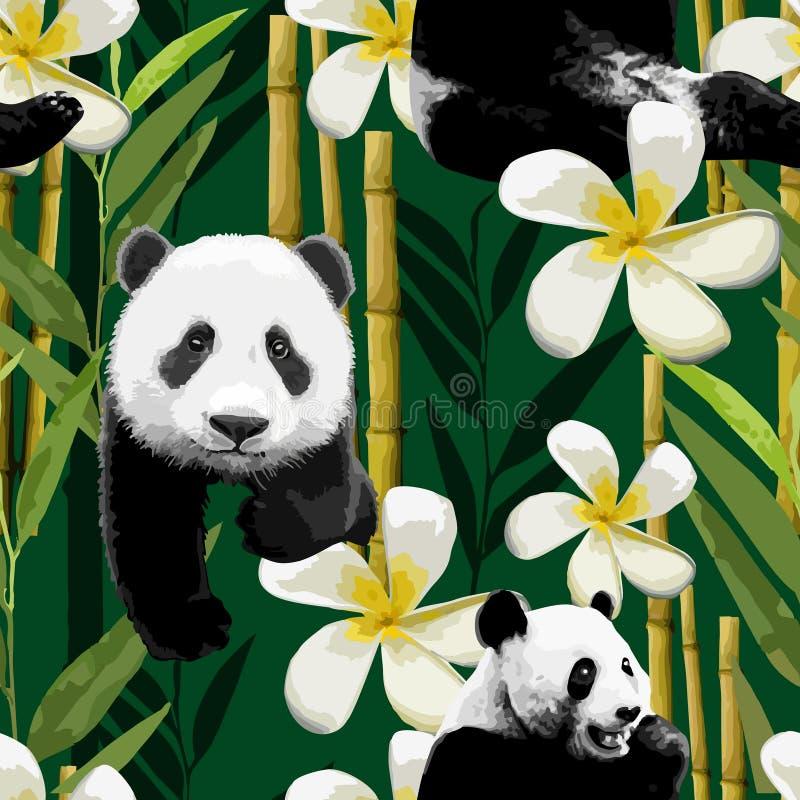 Teste padrão da panda e das flores ilustração do vetor