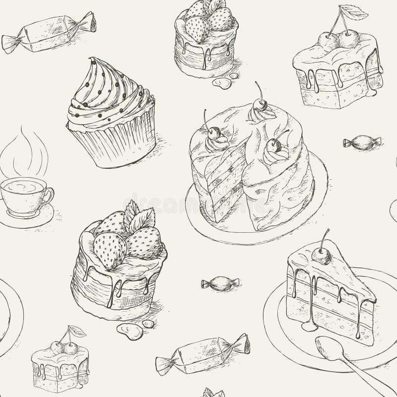 Teste padrão da pastelaria ilustração royalty free