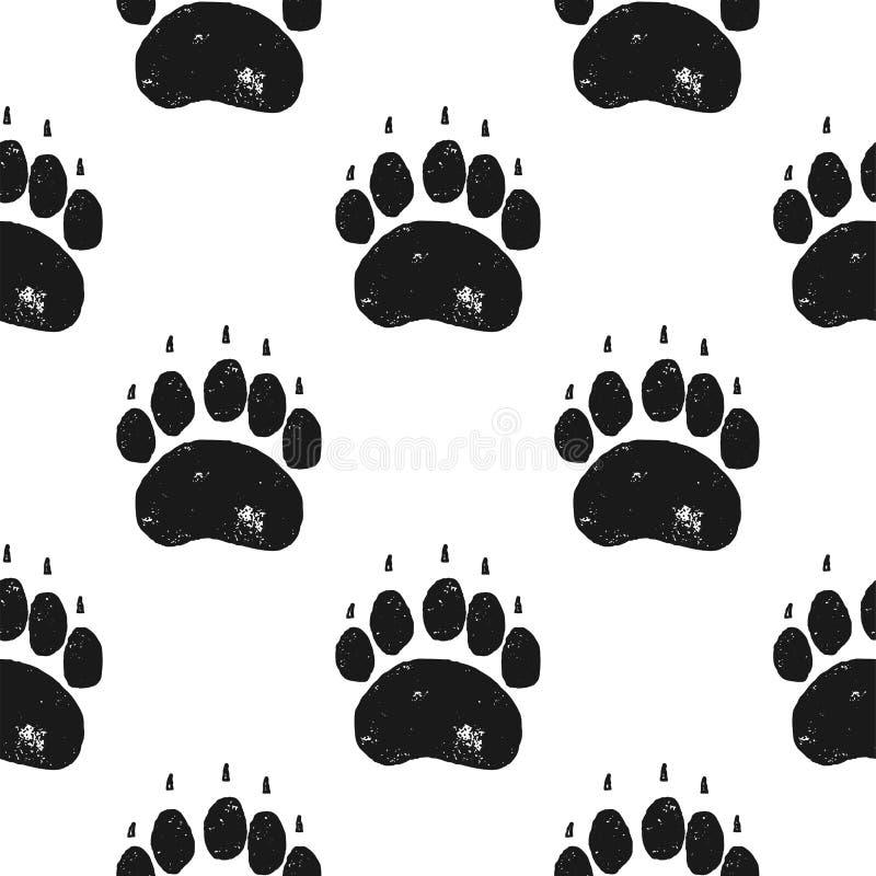 Teste padrão da pata de urso Fundo sem emenda da garra de urso Papel de parede da pegada Estilo tirado mão do silhoutte do vintag ilustração royalty free