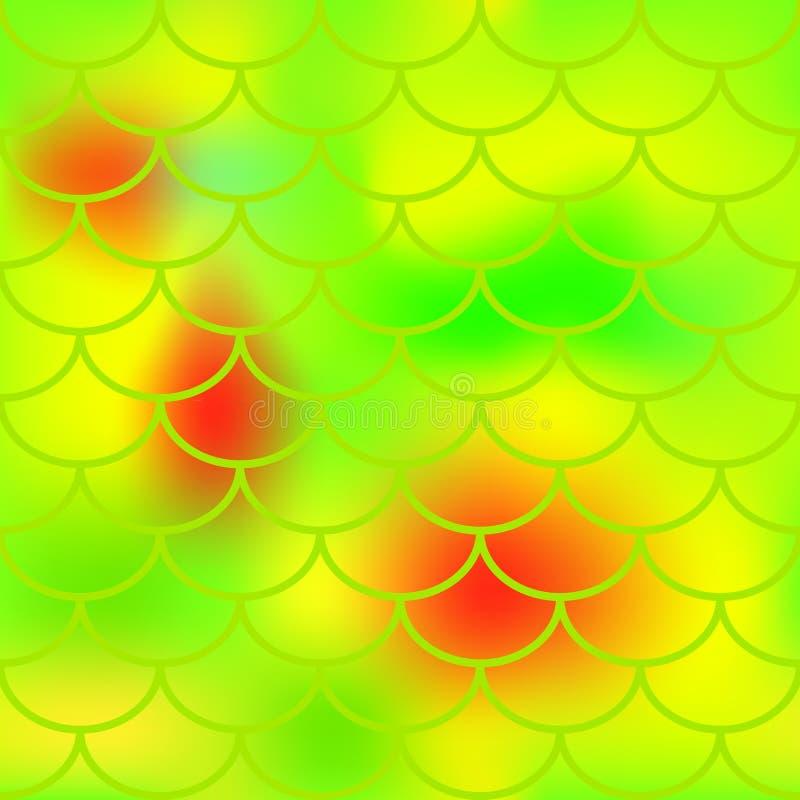 Teste padrão da pele dos peixes do verde amarelo para o fundo Teste padrão sem emenda brilhante da escala de peixes ilustração do vetor