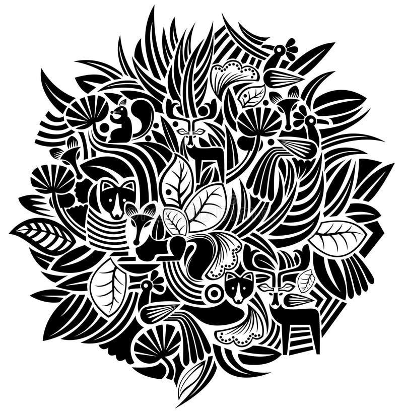 Teste padrão da planta e do animal ilustração royalty free