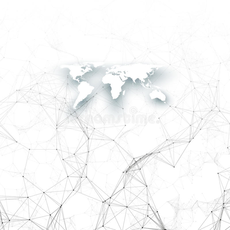 Teste padrão da química, mapa do mundo branco, linhas de conexão e pontos, estrutura da molécula no branco ADN médico científico ilustração royalty free
