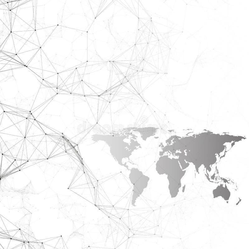 Teste padrão da química, mapa do mundo preto, linhas de conexão e pontos, estrutura da molécula no branco ADN médico científico ilustração do vetor