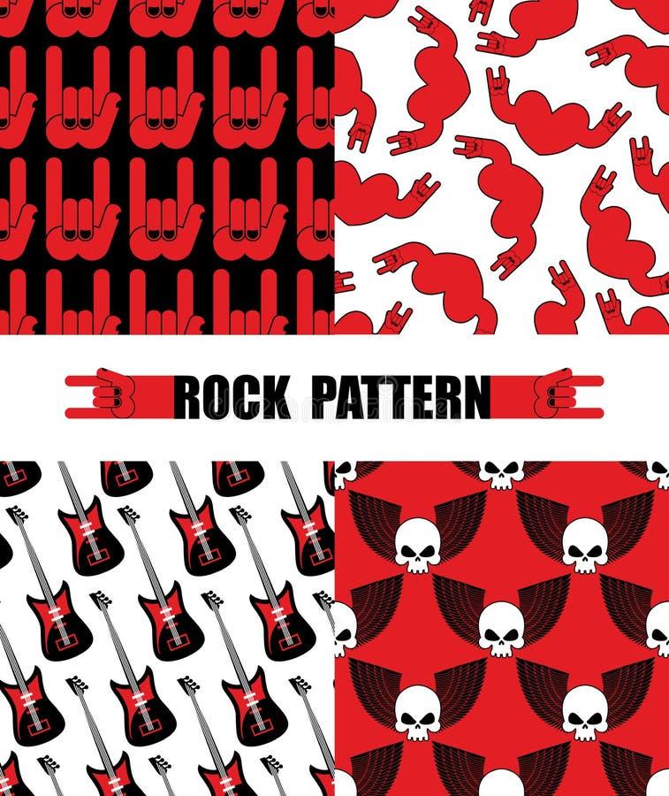 Teste padrão da rocha Tema sem emenda ajustado dos testes padrões da música rock Rocha h ilustração royalty free