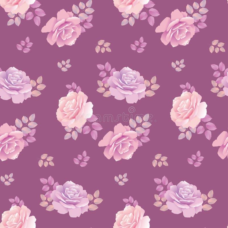 Teste padrão da rosa do roxo ilustração stock