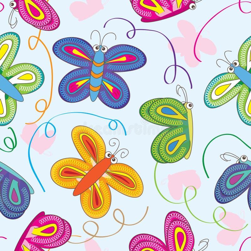 Teste padrão da silhueta das borboletas ilustração do vetor
