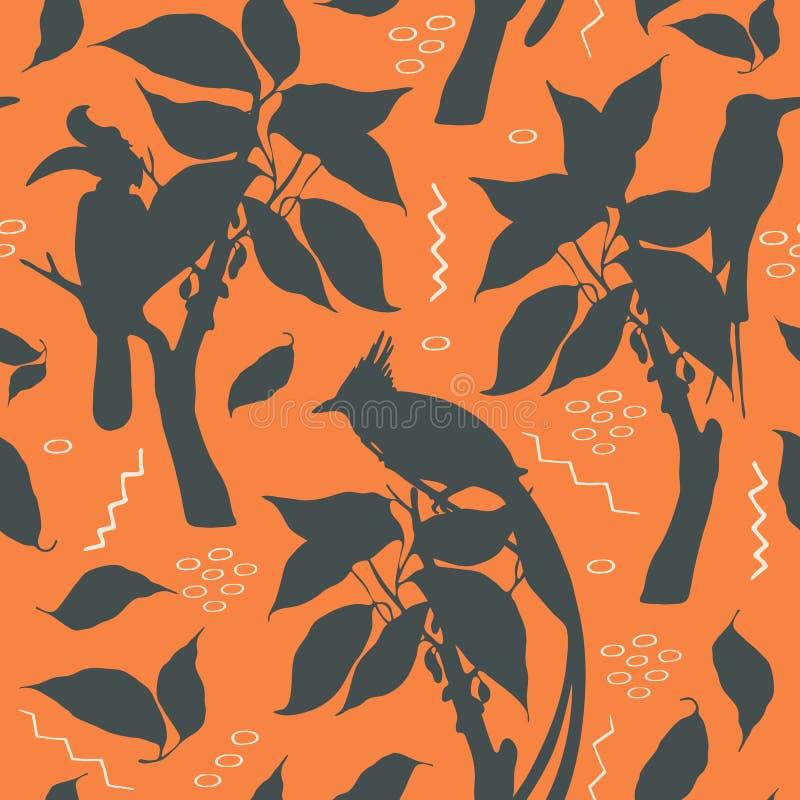 Teste padrão da silhueta do vetor com os pássaros exóticos no fundo da terracota ilustração do vetor