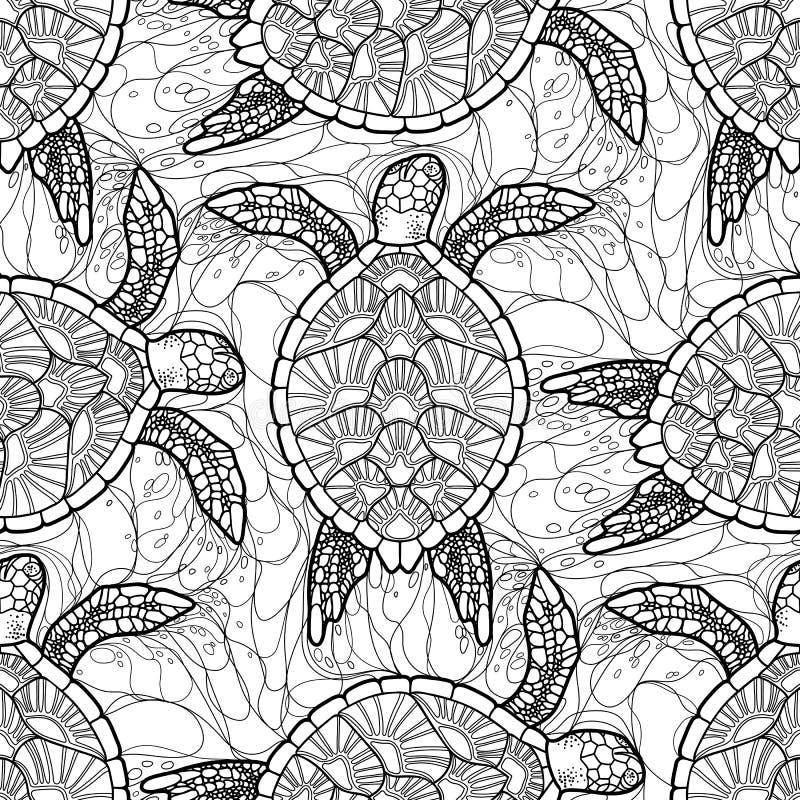 Teste padrão da tartaruga de mar de Hawksbill ilustração royalty free