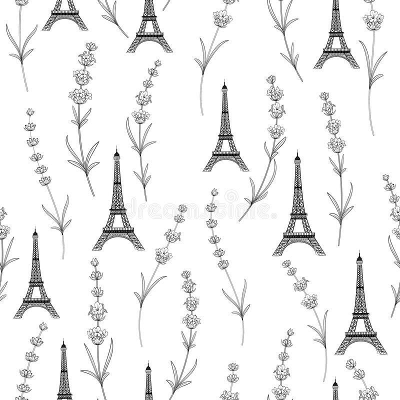 Teste padrão da tela com flores da alfazema ilustração stock
