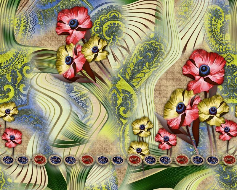 Teste padrão da tela do fundo com flor ilustração royalty free