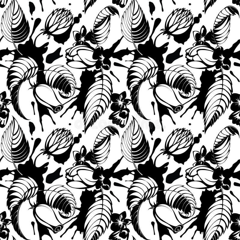 Teste padrão da tinta e de flores ilustração do vetor