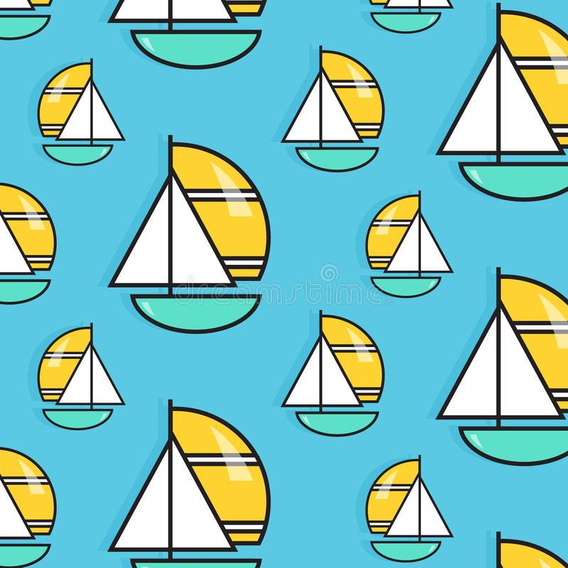 Teste padrão da viagem do feriado Papel de parede da viagem da água do verão Cópia do barco de vela das férias Textura do fuzilei ilustração do vetor