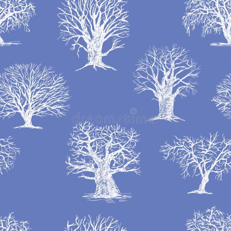 Teste padrão das árvores do inverno ilustração do vetor