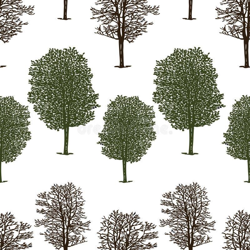 Teste padrão das árvores no verão e no inverno ilustração stock