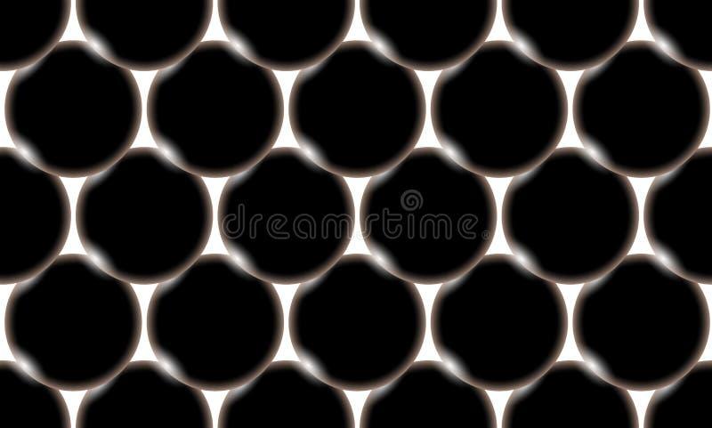 Teste padrão das bolas bonitas brilhantes abstratas volumosas inflando lisas pretas, círculos com brilho da luz em um fundo branc ilustração royalty free
