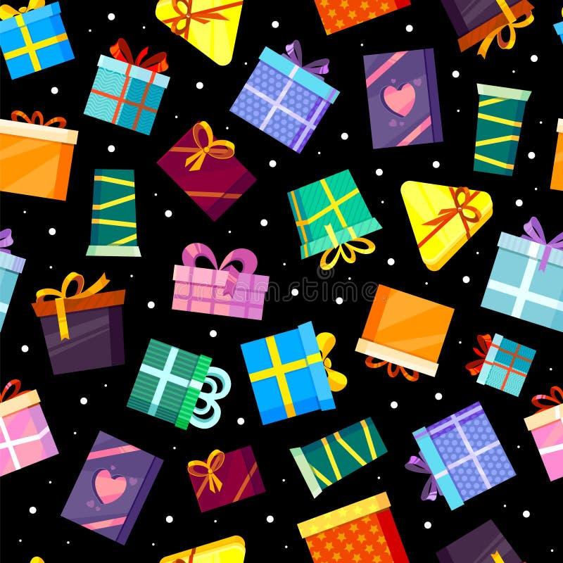 Teste padrão das caixas de presentes o Valentim colorido do xmas e outros presentes das celebrações surpreendem a caixa da compra ilustração royalty free