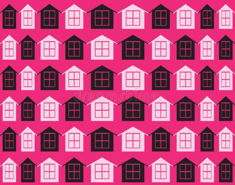 teste padrão das casas Fundo preto cor-de-rosa das casas ilustração do vetor
