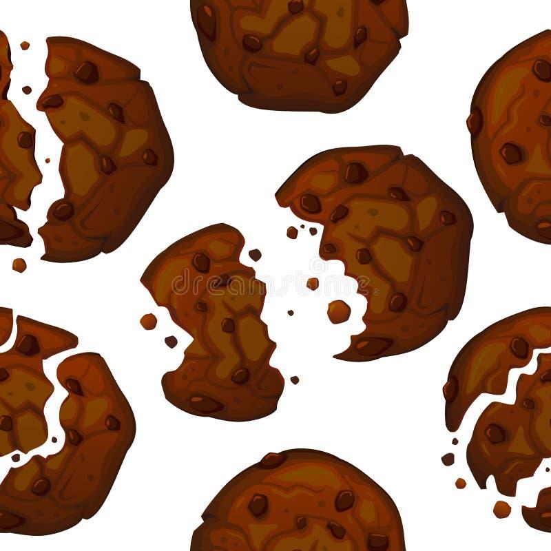 Teste padrão das cookies dos pedaços de chocolate do vetor Teste padrão sem emenda da cookie do chocolate ilustração do vetor