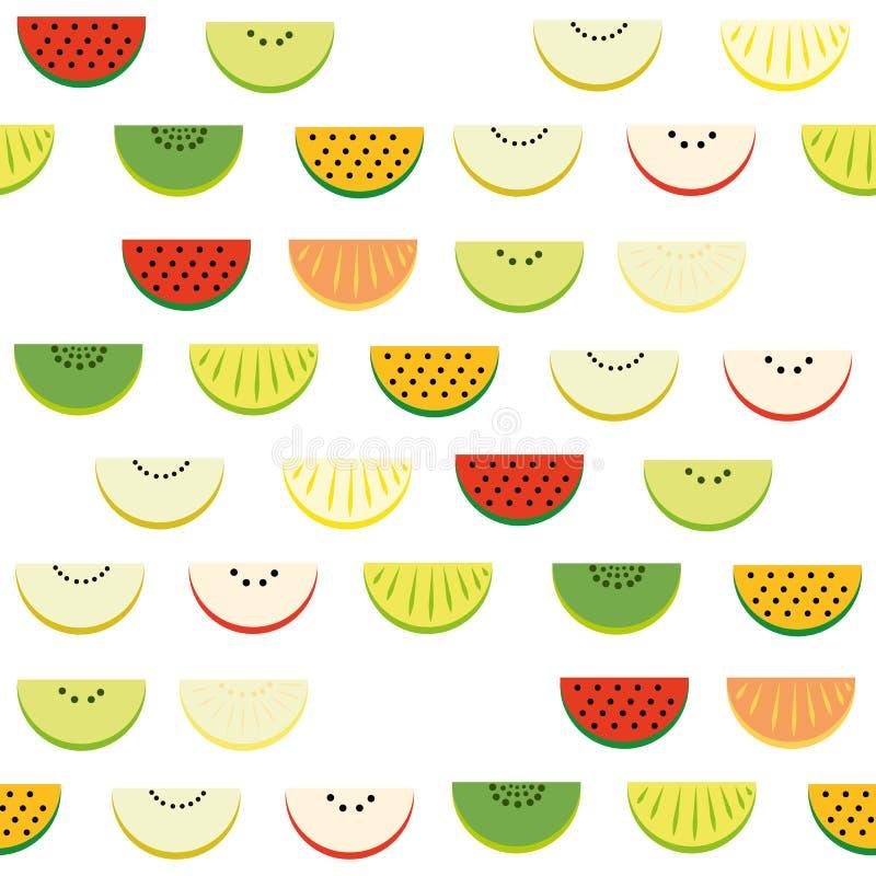 Teste padrão das fatias de melancia, maçã, quivi, laranja, tangerina, melão ilustração stock