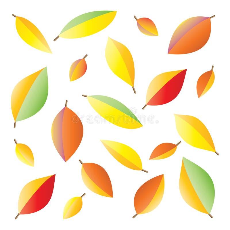 Teste padrão das folhas de outono coloridas em um fundo branco imagem de stock