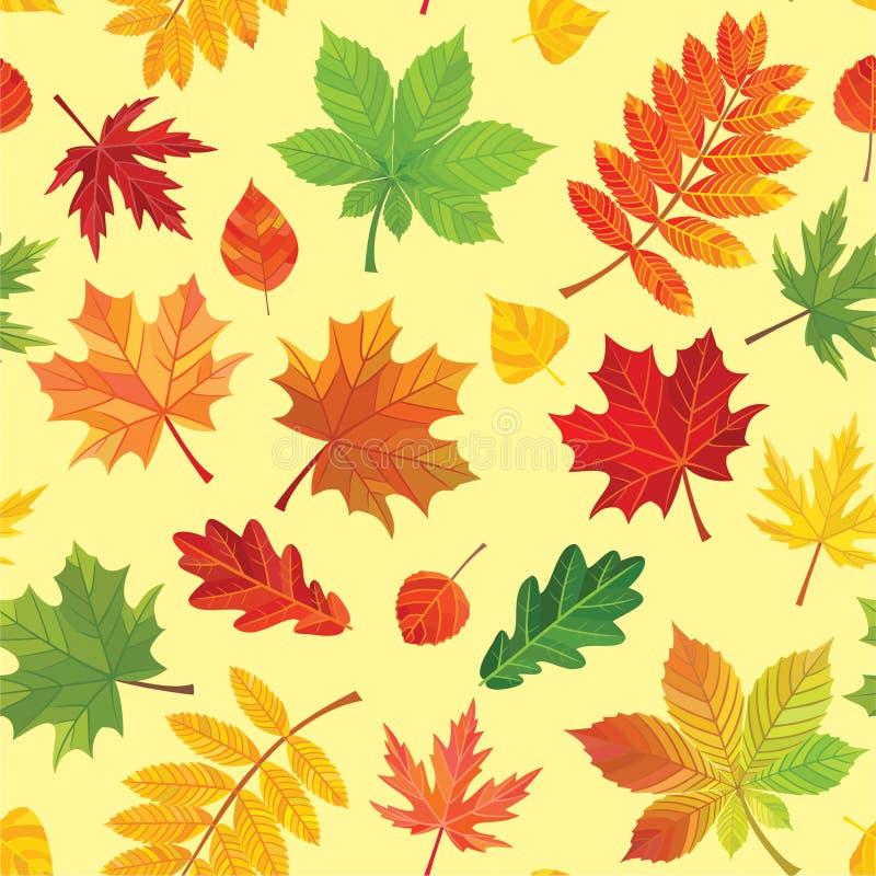 Teste padrão das folhas de outono Textura sem emenda do vetor ilustração stock