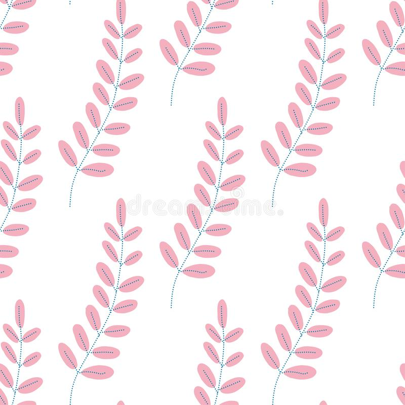 Teste padrão das folhas Fundo infinito Sem emenda no estilo liso ilustração stock