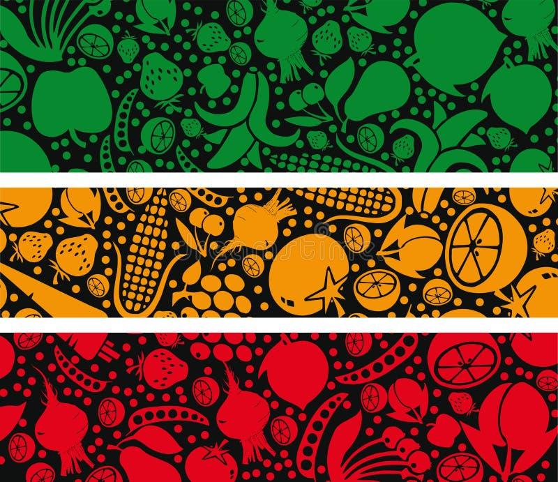 Teste padrão das frutas e verdura. ilustração stock