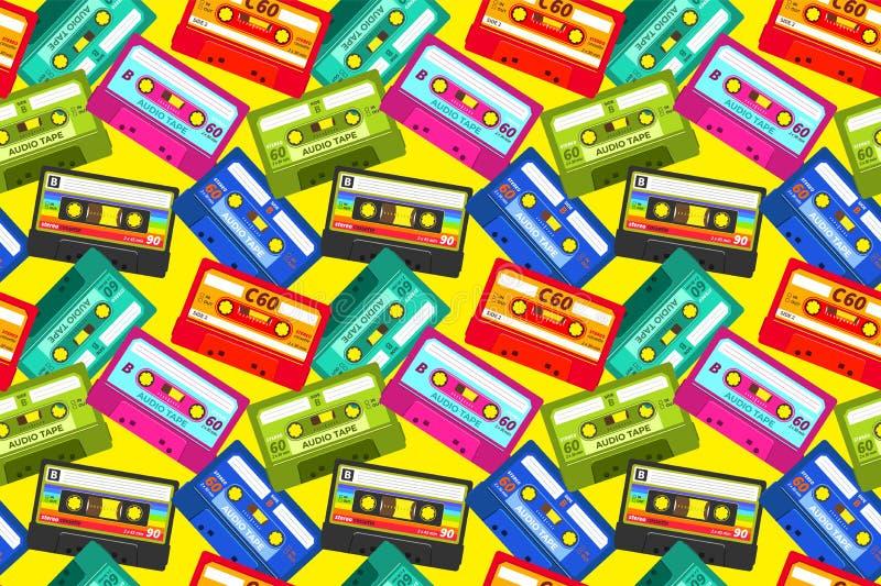 Teste padrão das gavetas do vintage Os anos 80 retros fita sadia do musica pop, tecnologia estereofônica da velha escola, fita da ilustração do vetor