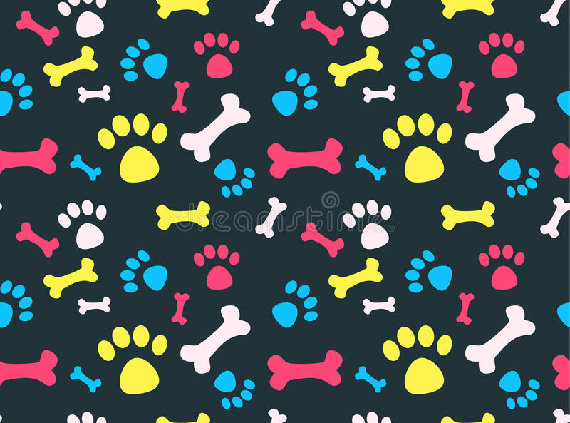 Teste padrão das pegadas do animal de estimação ilustração stock