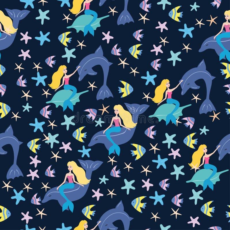 Teste padrão das sereias e dos peixes ilustração royalty free