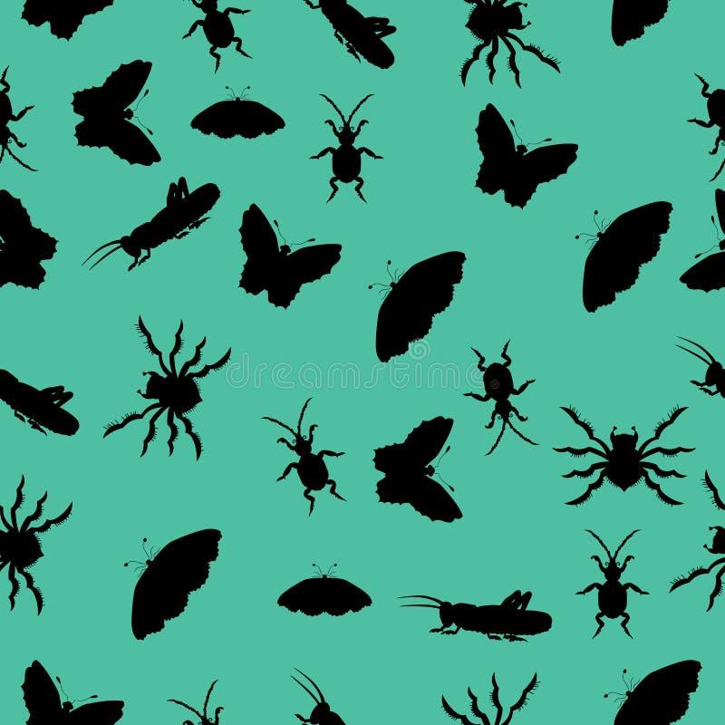 Teste padrão das silhuetas dos insetos Ilustração do vetor Desenhar à mão ilustração do vetor