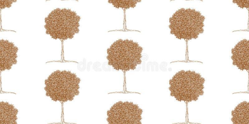 Teste padrão de árvores de tangerina no estilo do zentangle ilustração do vetor
