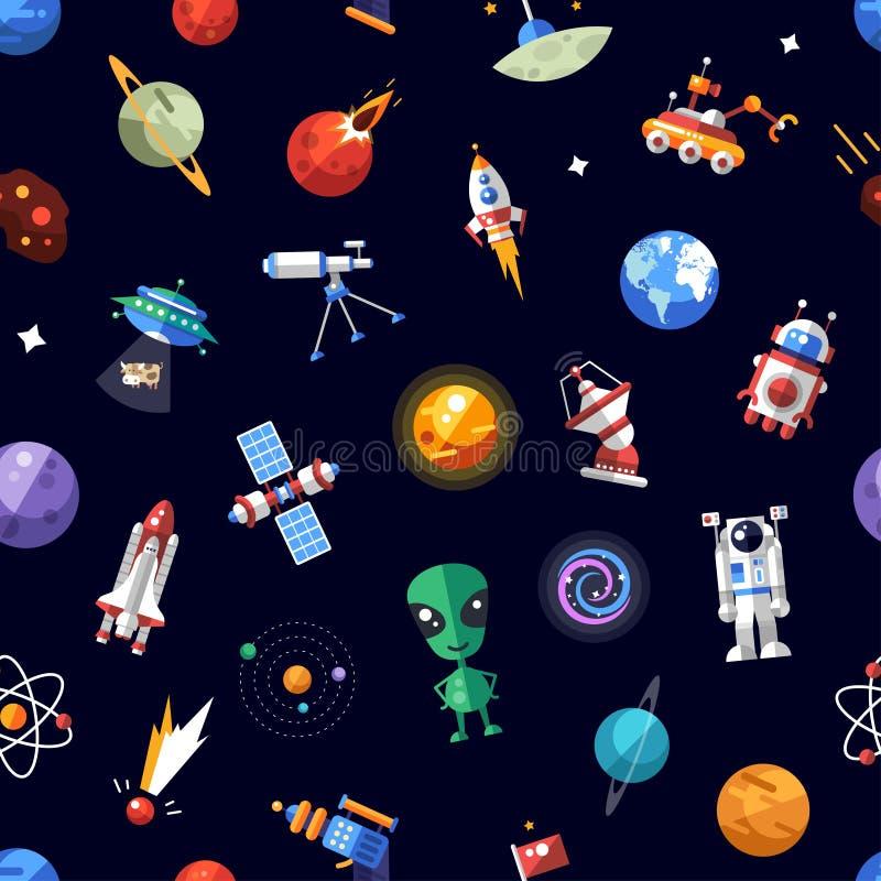 Teste padrão de ícones do espaço e de elementos do infographics ilustração stock