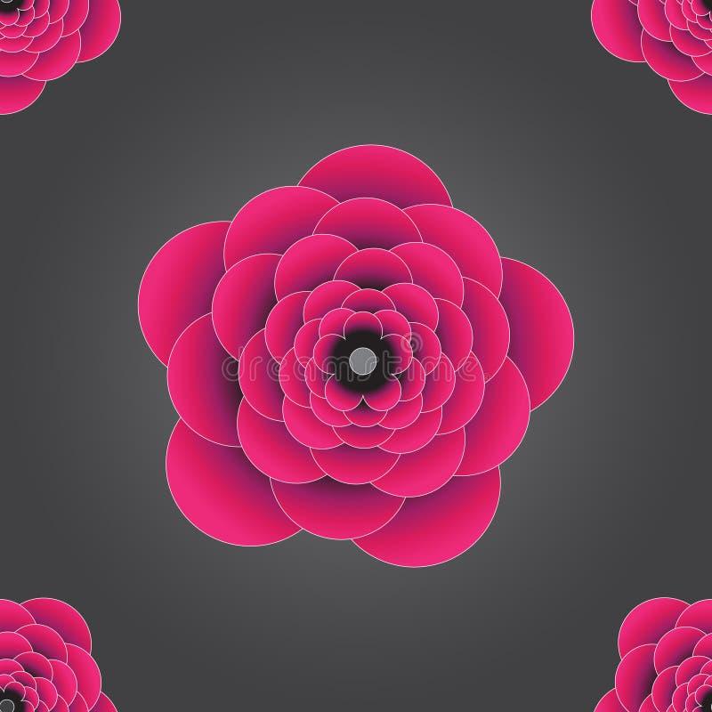 Teste padrão de alta resolução sem emenda gravado colorido cor-de-rosa do fundo da flor 3d Usado para o papel de parede, teste pa ilustração do vetor