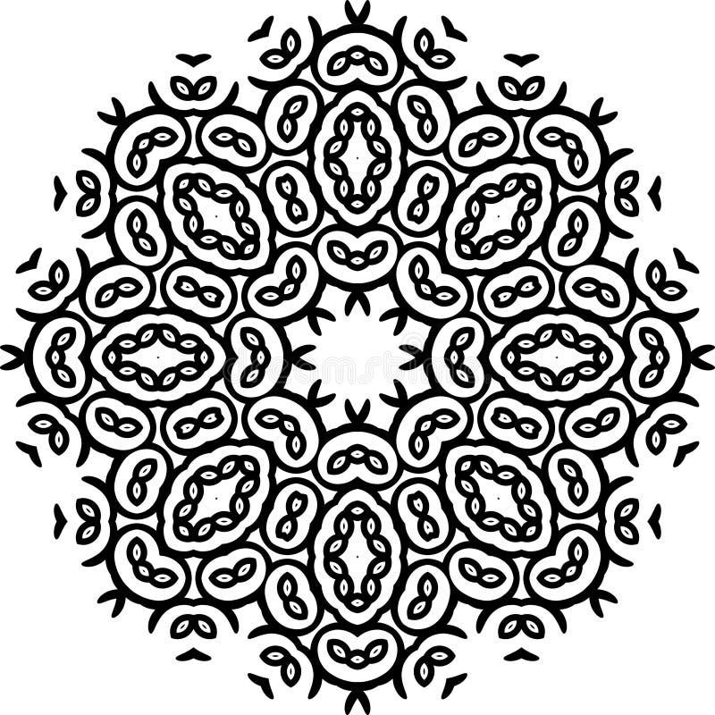 Teste padrão de Art Black Floral Seamless Symmetric no fundo branco ilustração stock