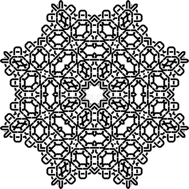 Teste padrão de Art Black Technical Seamless Symmetric no branco ilustração stock