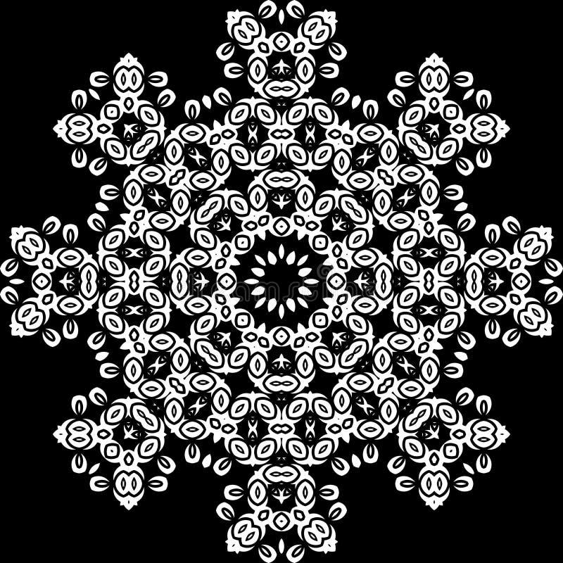 Teste padrão de Art White Floral Seamless Symmetric no fundo preto ilustração do vetor