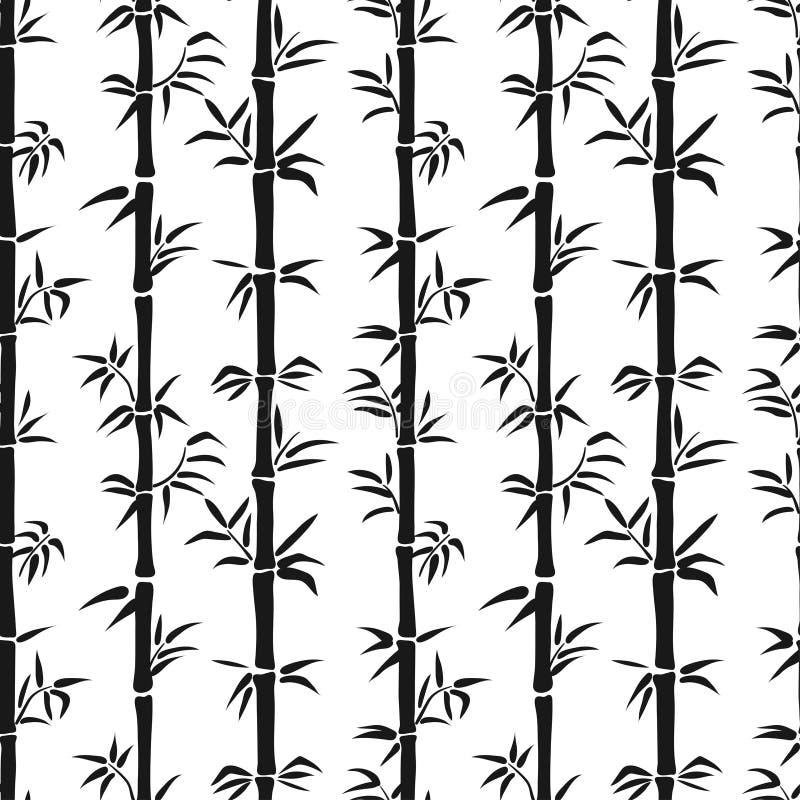 Teste padrão de bambu sem emenda preto e branco ilustração royalty free