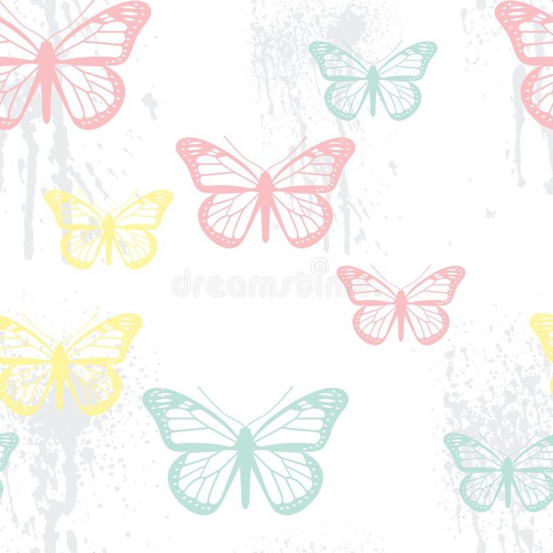 Teste padrão de borboleta sem emenda ilustração stock