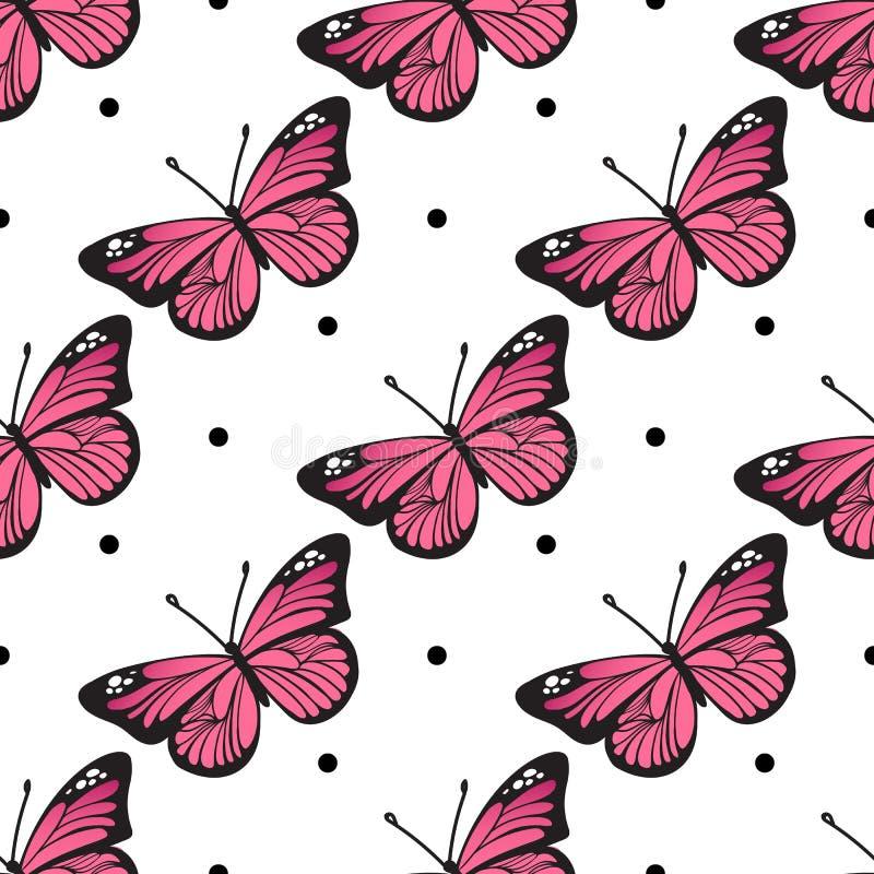 Teste padrão de borboleta sem emenda para seu projeto do bebê ilustração royalty free