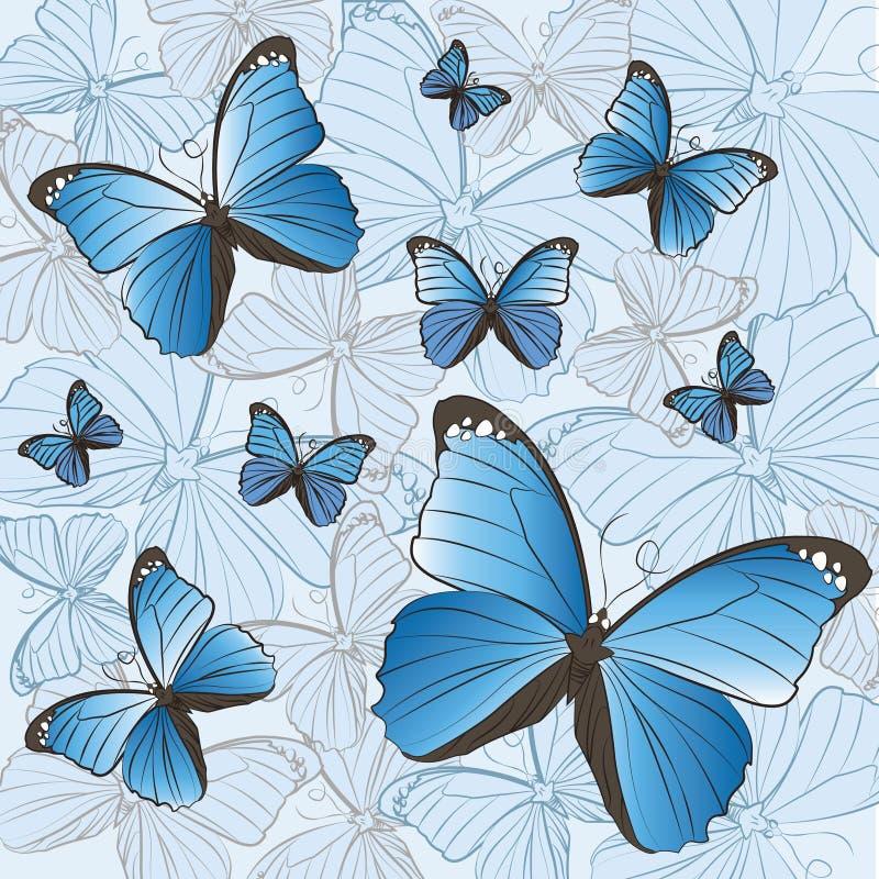 Teste padrão de borboletas azuis ilustração stock