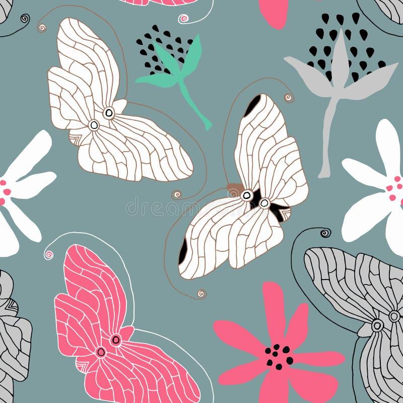 Teste padrão de borboletas do vetor Fundo sem emenda abstrato ilustração royalty free