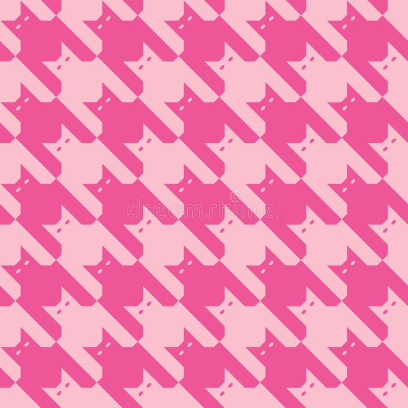 Teste padrão de CatsTooth no rosa ilustração do vetor