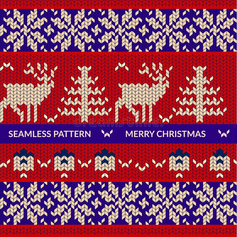 Teste padrão de confecção de malhas com cervos ilustração stock