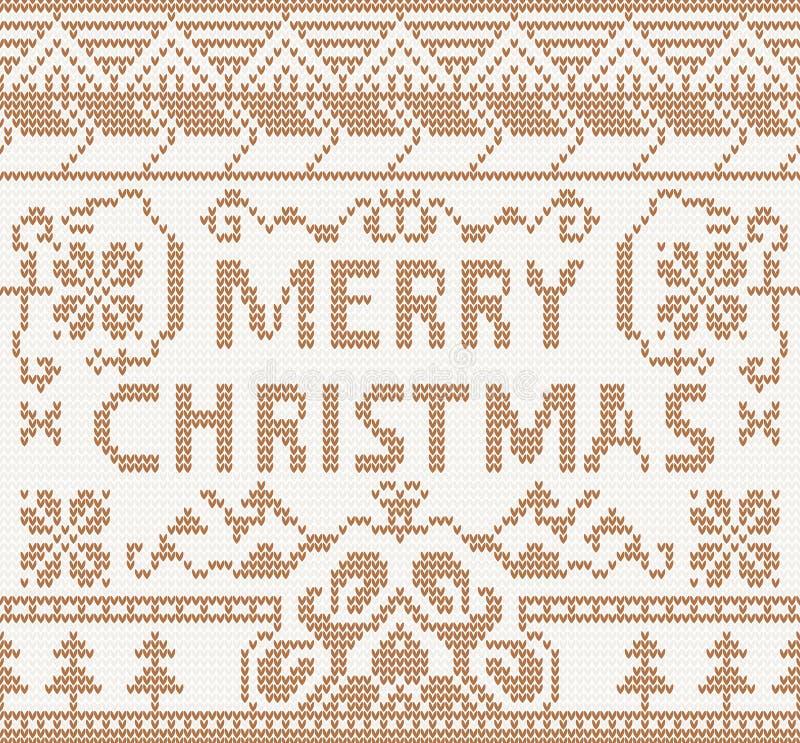 Teste padrão de confecção de malhas com Feliz Natal ilustração royalty free