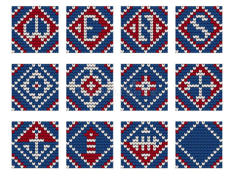 Teste padrão de confecção de malhas da avó ajustado para a camiseta feia ilustração stock